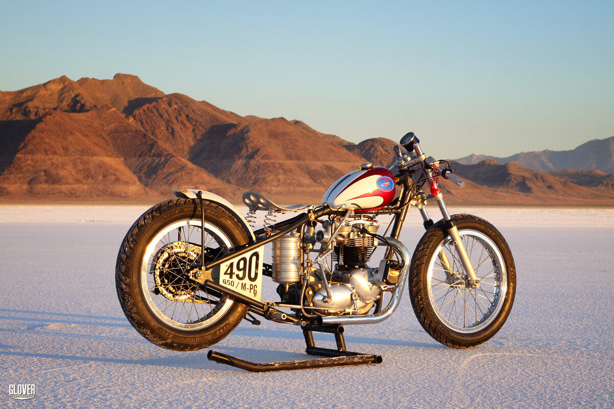 Kyle's Triumph race bike at Bonneville Speed Week 2010. He assembled this bike in the Lowbrow office, behind my chair. No records in 2010, however he broke two in 2011. Photo: Jon Glover