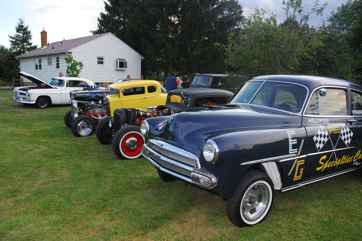 Hot rods at the first-ever Lowbrow party, the Lowbrow Backyard Beer Brawl, which was held in my back yard in 2008.
