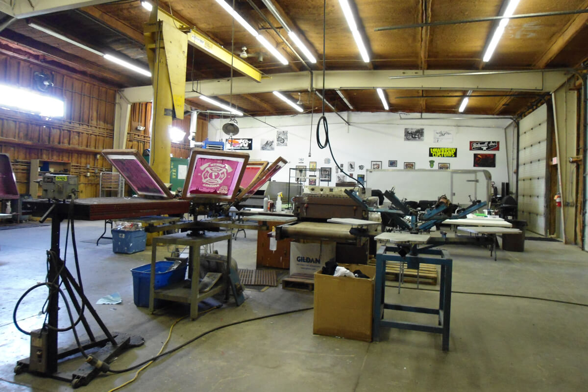 The screen printing operation long ago, before the automatic press was moved in and installed!
