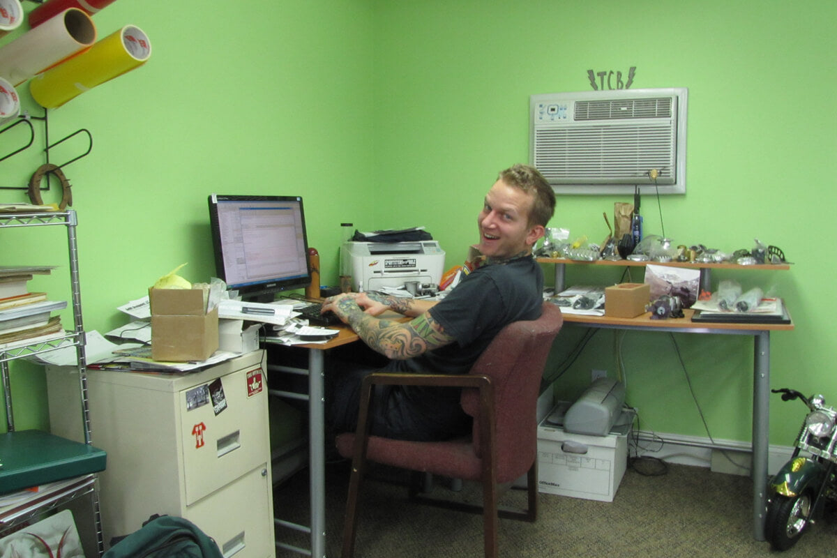 Here I am hard at work in the Lowbrow Customs office, circa 2009.