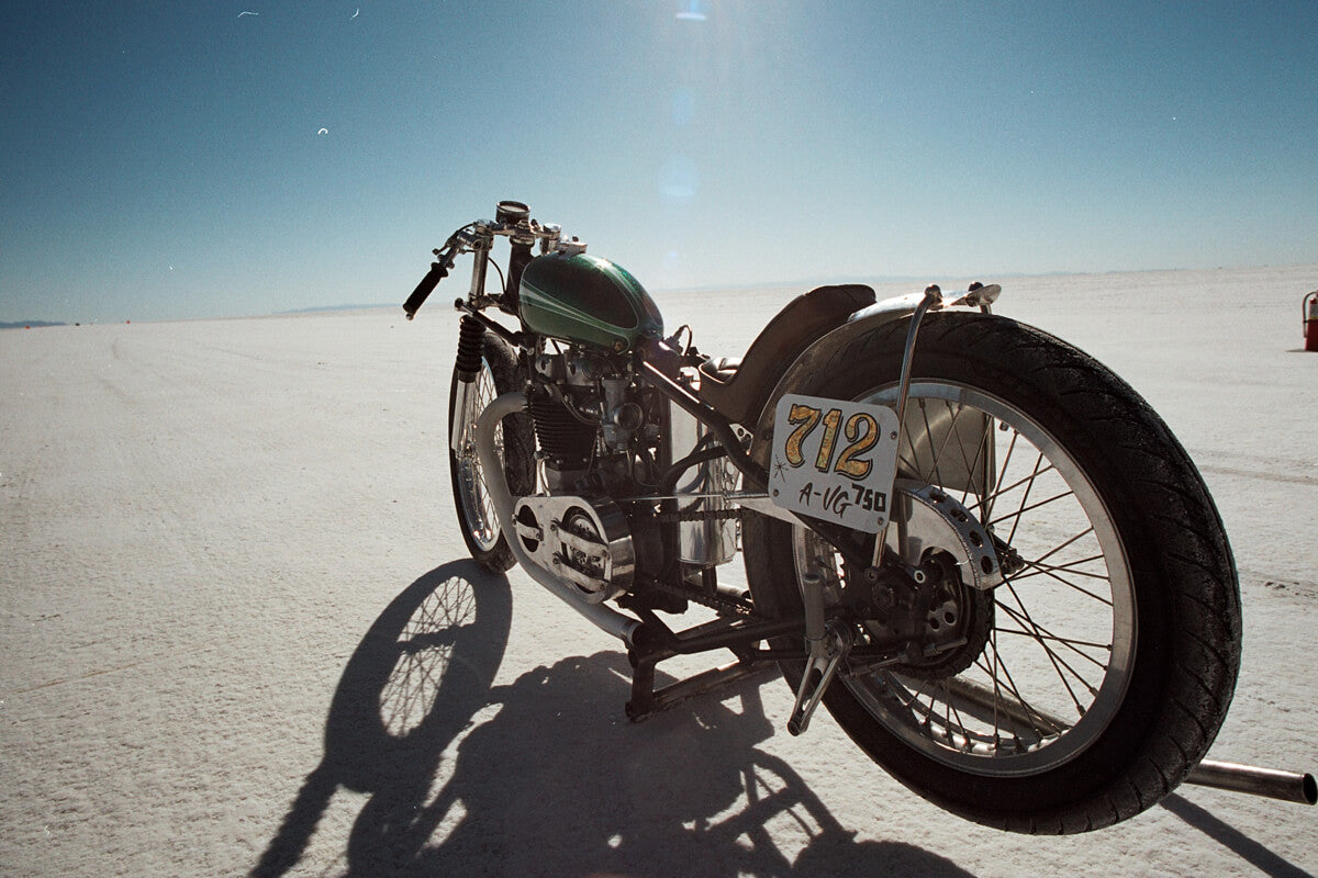 Poison Ivy at Bonneville Speed Week in 2010. Qualified for a land speed record that year but I bent an exhaust valve on the return run. I went back in 2011 and set 2 records. Photo: Michael Van Parys