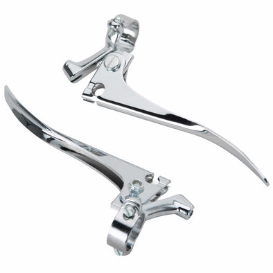 Chromed Steel Brake and Clutch Blade Levers Control Set for 1 inch Bars