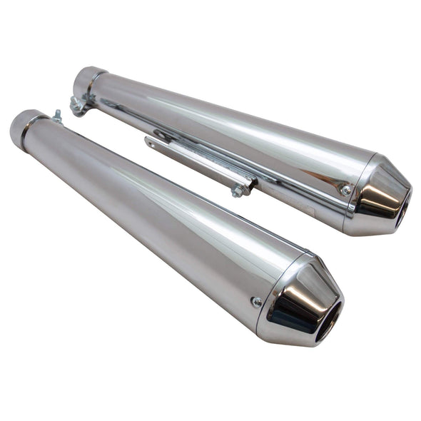 Reverse Cone Shorty Megaphone Exhaust Mufflers - Chrome