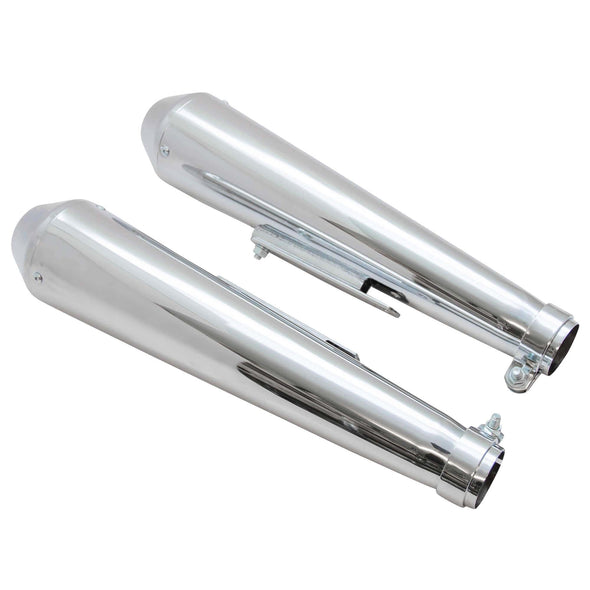 Reverse Cone Shorty Megaphone Exhaust Mufflers - for 1-3/8 to 1-3/4 inch Exhaust Pipes