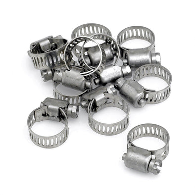 Hose Clamps 10-pack 7/32 - 5/8 inch Stainless Steel USA Made - 10 pack
