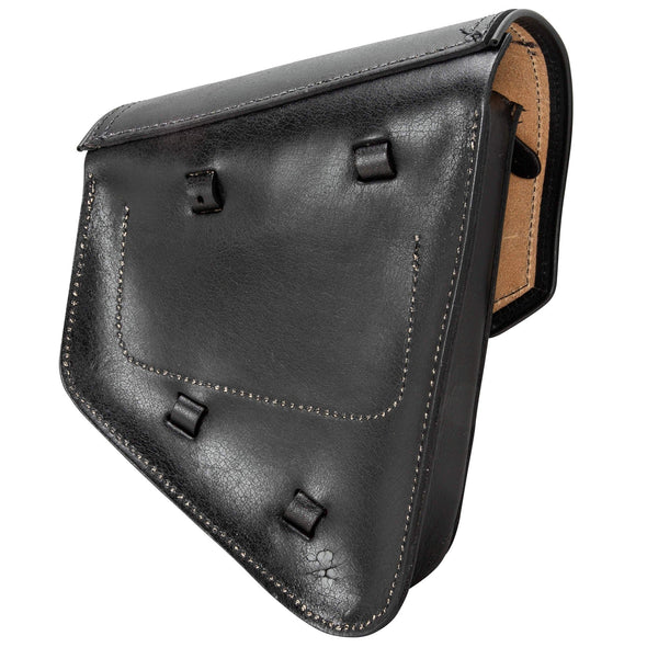 Solo Saddlebag Left Side - Black Rustic - For Rigid & Softail Motorcycles