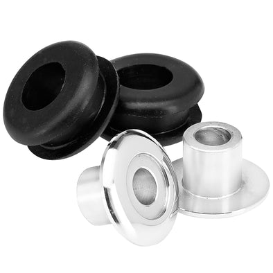 Set of 2 Aluminum Tophats and Rubber Grommets