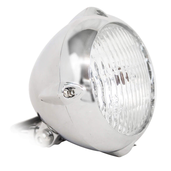 Cast Aluminum Tri-Fin Headlight - Chromed Aluminum