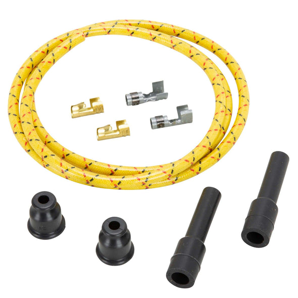 7mm Solid Core Cloth Straight Spark Plug Wire Sets - Yellow w/ Black and Red Tracers