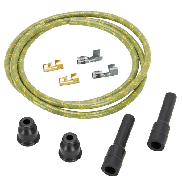 7mm Cloth Straight Spark Plug Wire Sets - Green w/ Yellow Tracers