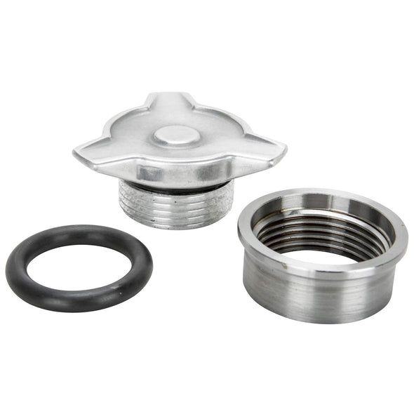 Cast Aluminum Spinner Gas / Oil Cap With Weld-In Steel Bung