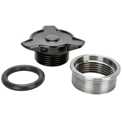 Cast Aluminum Spinner Gas / Oil Cap With Weld-In Steel Bung - Black