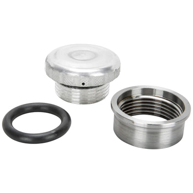 Cast Aluminum Knurled Gas / Oil Cap With Weld-In Steel Bung