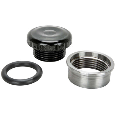 Cast Aluminum Knurled Gas / Oil Cap With Weld-In Steel Bung - Black