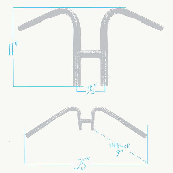Rabbit Ears Handlebars - 1 inch - Black