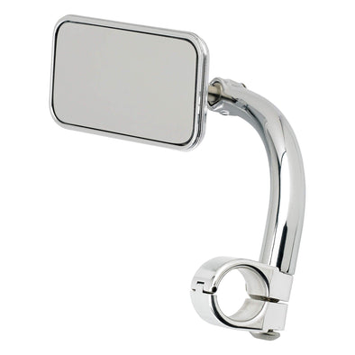 Utility Mirror Rectangle Clamp-on Mount - 1 inch Handlebars - Chrome