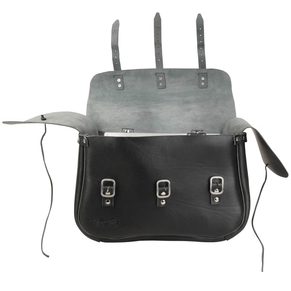 Adventurer Leather Saddlebags - Strap Mounting - Black