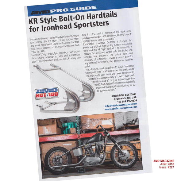 KR Style Bolt-On Hardtail Rear Frame Section for 1967 - 1978 H-D Ironhead Sportster