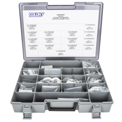 Colony Chrome Plated Flatwasher and Lockwasher Assortment Tray - 902 Pieces