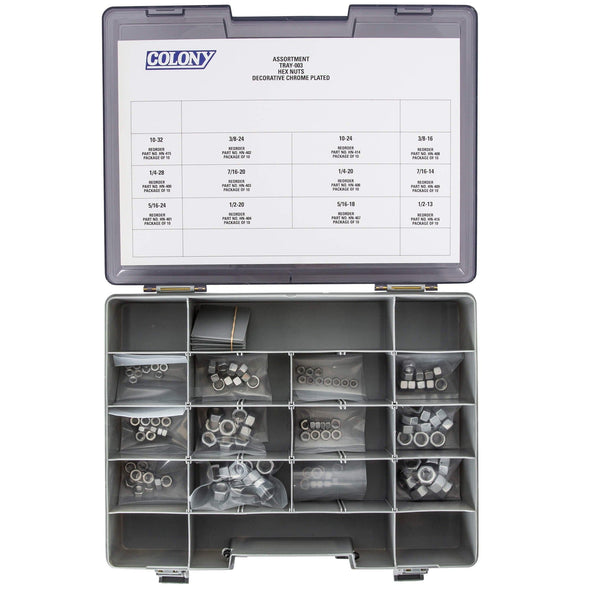 Colony Chrome Plated Hex Nut Assortment Tray - 120 Piece