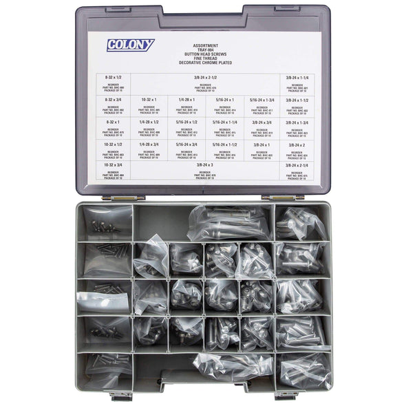 Colony Chrome Plated Button Head Socket Head Screw Assortment Tray - Fine Thread - 240 Piece
