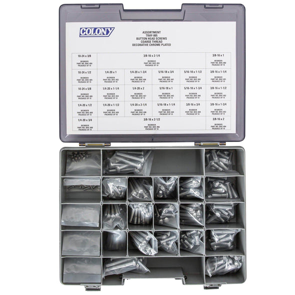 Colony Chrome Plated Button Head Socket Head Screw Assortment Tray - Coarse Thread - 240 Piece