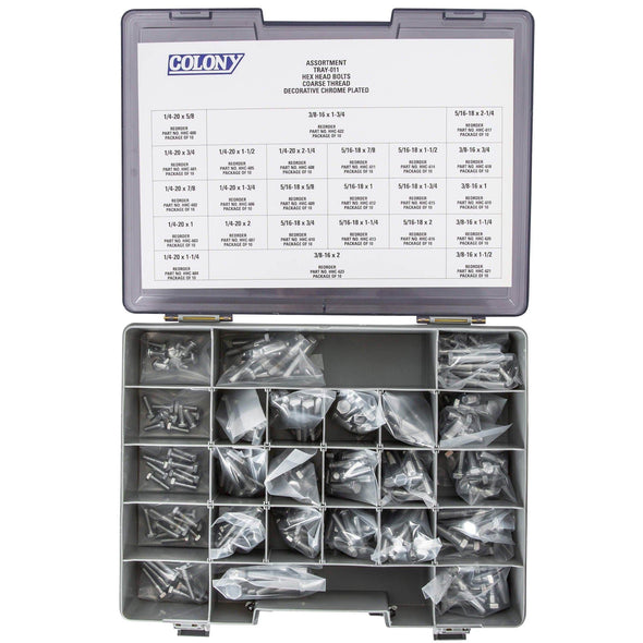 Colony Chrome Plated Hex Head Bolts Assortment Tray - Coarse Thread - 240 Piece