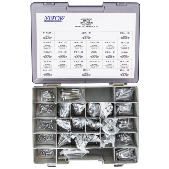 Colony Chrome Plated Hex Head Bolts Assortment Tray - Fine Thread - 240 Piece