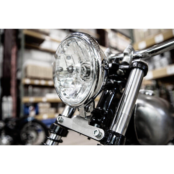 Bottom Mount Headlight Bracket - Harley Narrow Glide, Triumph, BSA - Tumbled Stainless