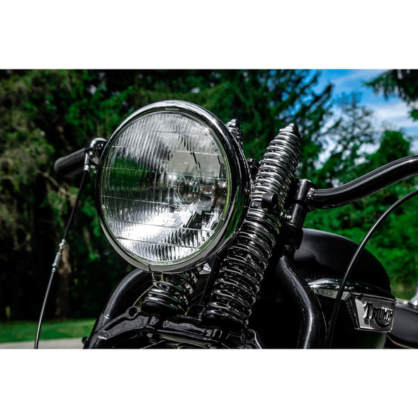 Springer Headlight 1936 - 1954 Harley-Davidson - Black with Chrome Bezel - 12 volt
