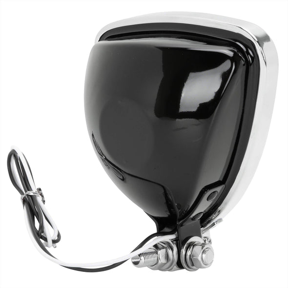 Aris Style Triangular Headlight - Black with Chrome Bezel