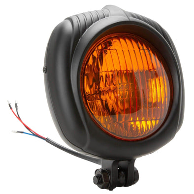 Electroline Headlight with Yellow Lens - Black