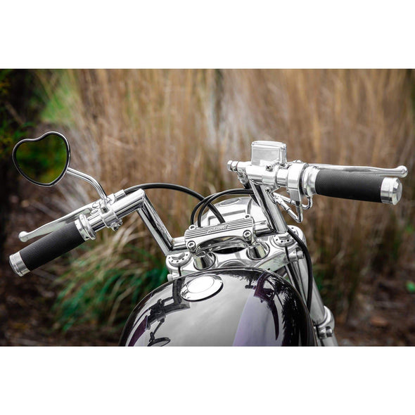 Black Heart Motorcycle Mirror - Perch Mount - Black
