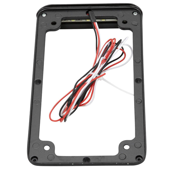 Vertical Motorcycle License Plate Frame with LED Brake and License Plate Lights - Black