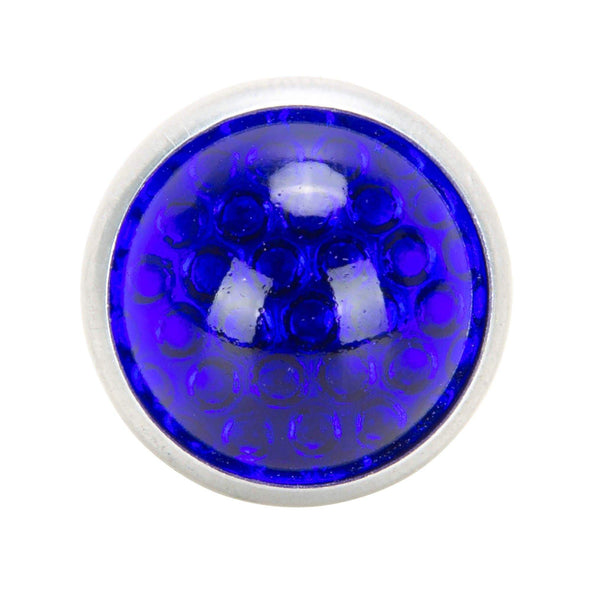 Glass License Plate Round Reflector - Blue