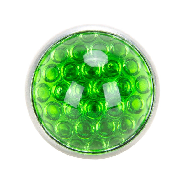 Glass License Plate Round Reflector - Green