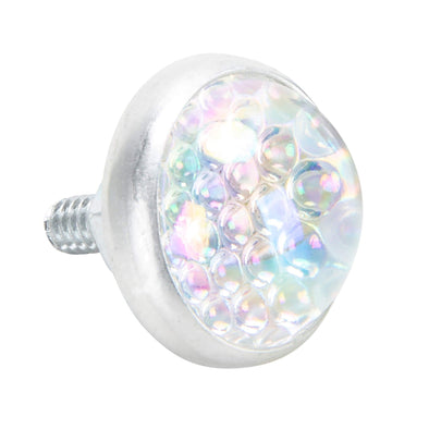 Glass License Plate Round Reflector - Rainbow