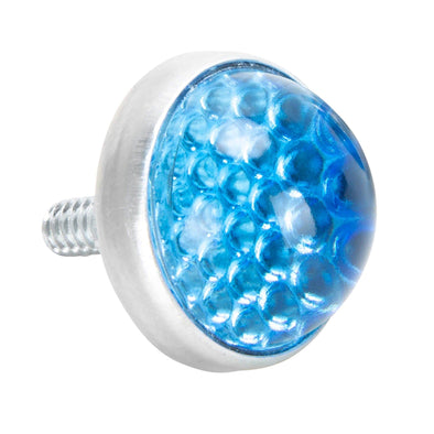 Glass License Plate Round Reflector - Light Blue
