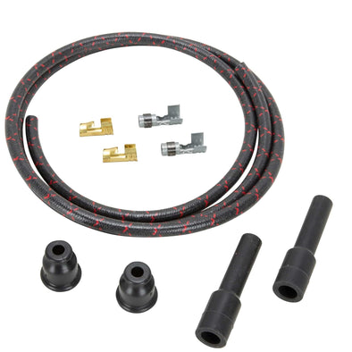 8mm Solid Core Cloth Straight Spark Plug Wire Sets - Black with Red tracers