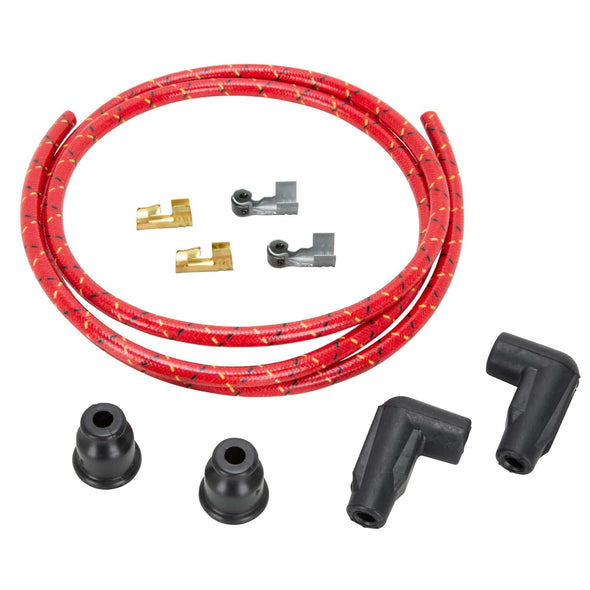 7mm Solid Core Cloth 90 Degree Spark Plug Wire Sets - Red w/ Black and Yellow Tracers