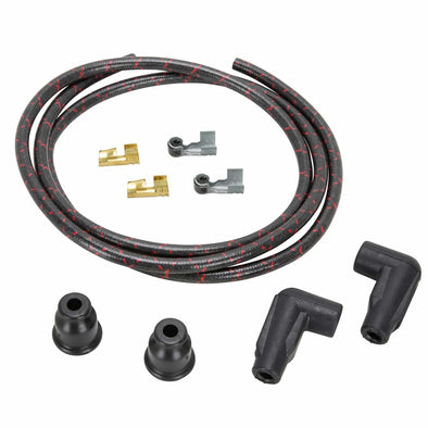 7mm Cloth 90 Degree Spark Plug Wire Sets - Black w/ Red Tracers
