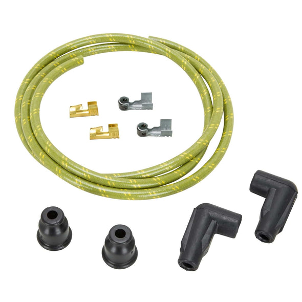 7mm Cloth 90 Degree Spark Plug Wire Sets - Green w/ Yellow Tracers