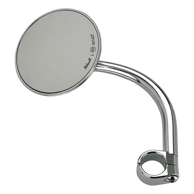 Utility Mirror Round CE Clamp-on Mount - 1 inch Handlebars - Chrome