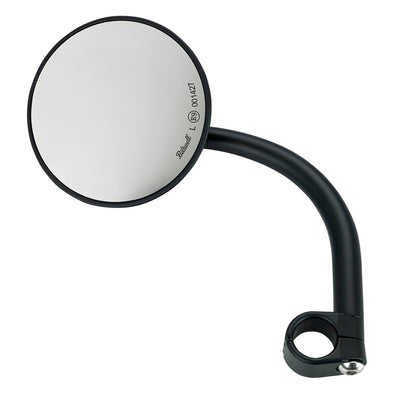 Utility Mirror Round CE Clamp-on Mount - 7/8 inch Handlebars - Black