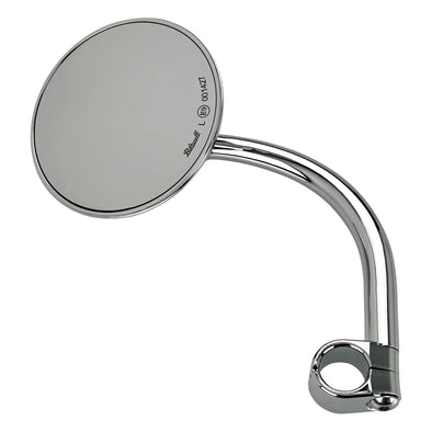 Utility Mirror Round CE Clamp-on Mount - 7/8 inch Handlebars - Chrome