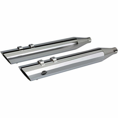 Slash Cut Slip-On Mufflers - Chrome - 4 inch - 1995-2016 Harley-Davidson Touring Models