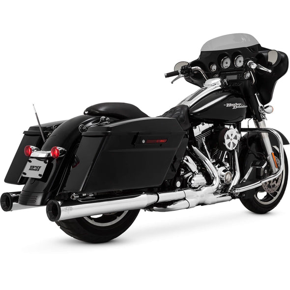 Eliminator 400 Slip-On Mufflers - Chrome/Black - 4 inch - 1995-2016 Harley-Davidson Touring Models