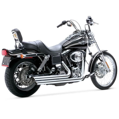 Bigshots Staggered Exhaust System - Chrome - 1991-2005  Harley-Davidson Dynas