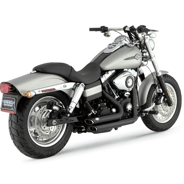 Shortshots Staggered Exhaust System - Black - 2006-2011 Harley-Davidson Dynas