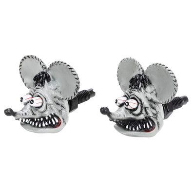 Rat Fink Head License Plate Bolts - Gray